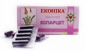 Свечи с экстрактом Эспарцета, 10 суппозиториев в упаковке